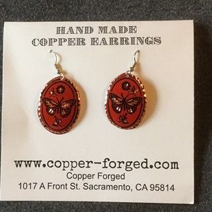 Hand Made Copper Forged Earrings
